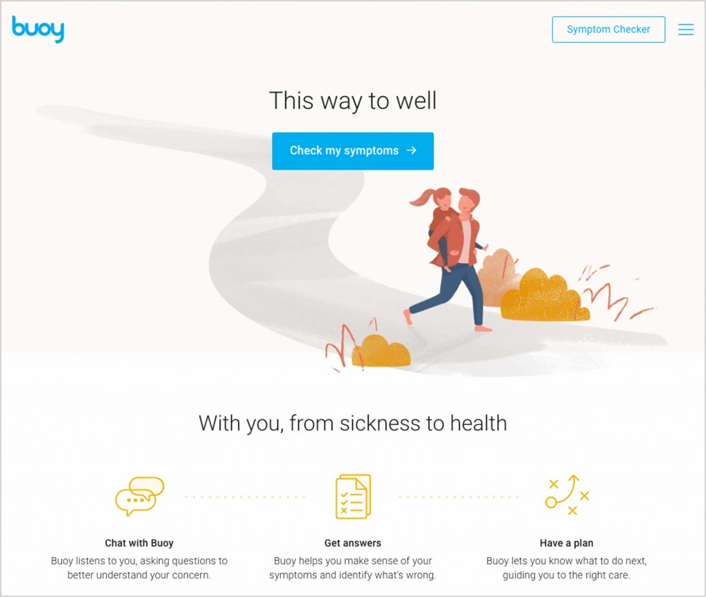 "Screenshot of BuoyHealth's start page with ""Check my symptoms"" button"