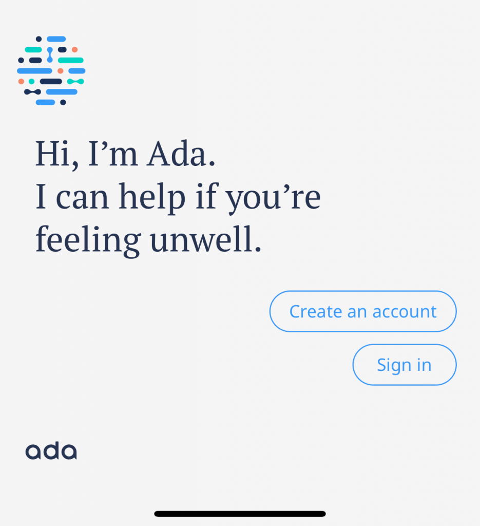 Screenshot of the start screen of Ada
