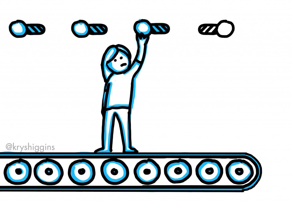 Sketch of a person being carried by a conveyor belt as they flick on switches.