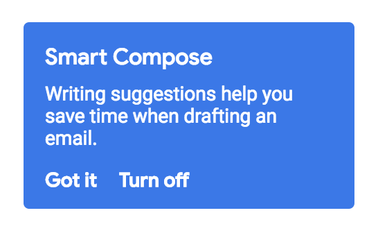 Standalone screenshot of Smart Compose retroactive opt-out