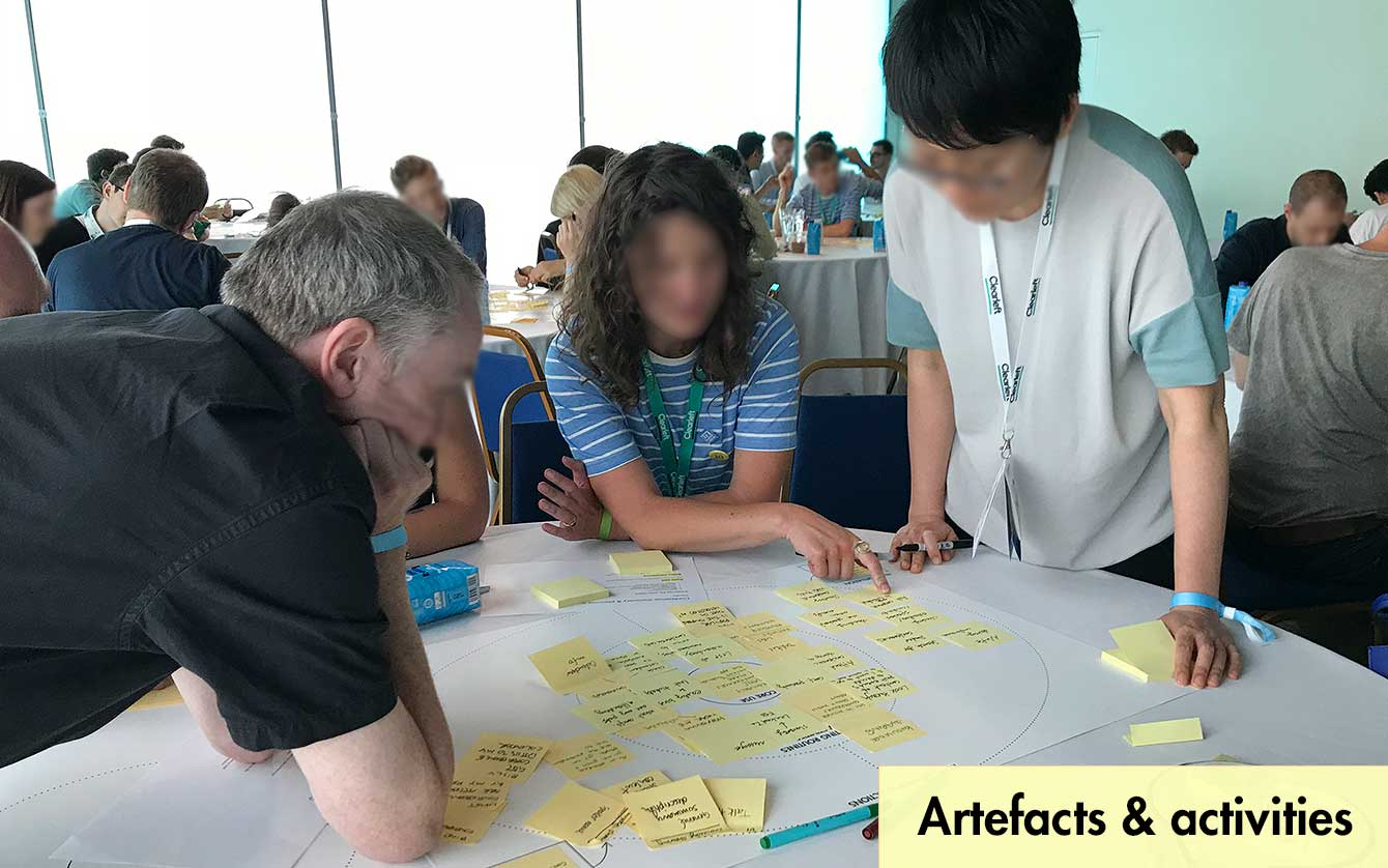 Photo of 3 people collaborating on key actions workshop exercise