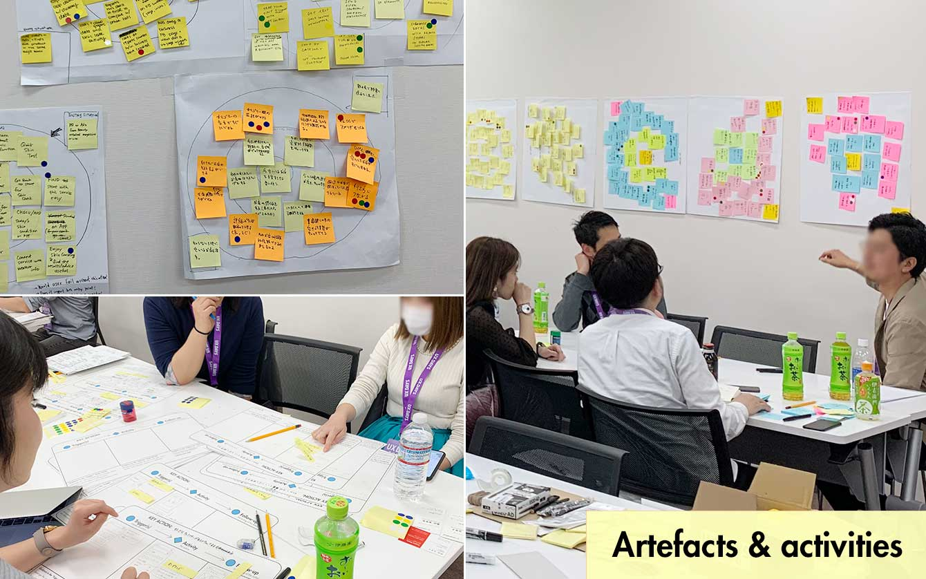 Collage image of teams of people working on onboarding activities