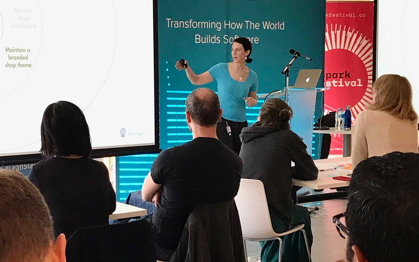 Photo of Krystal Higgins presenting workshop slides in Sydney