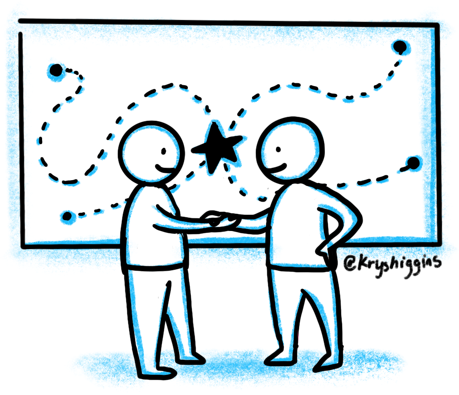 Two people shaking hands in front of a drawing of multiple paths leading to the same destination