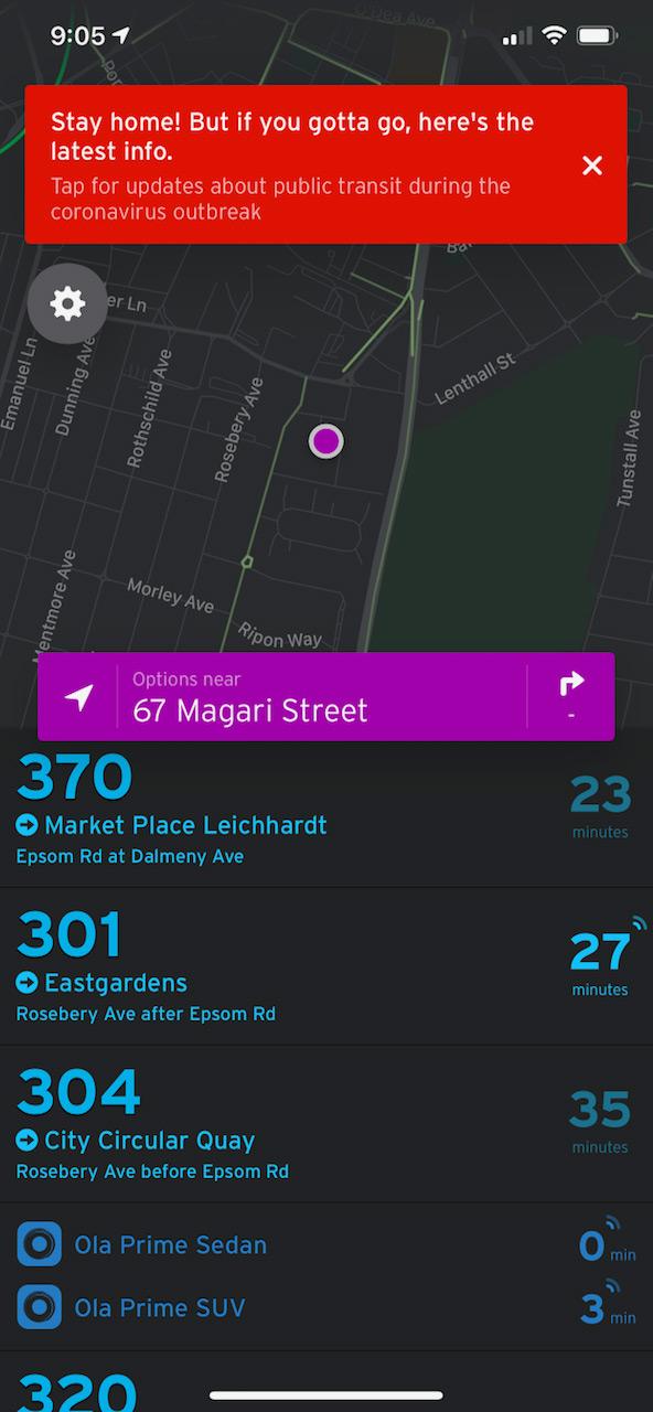 Screenshot of Transit public transportation app