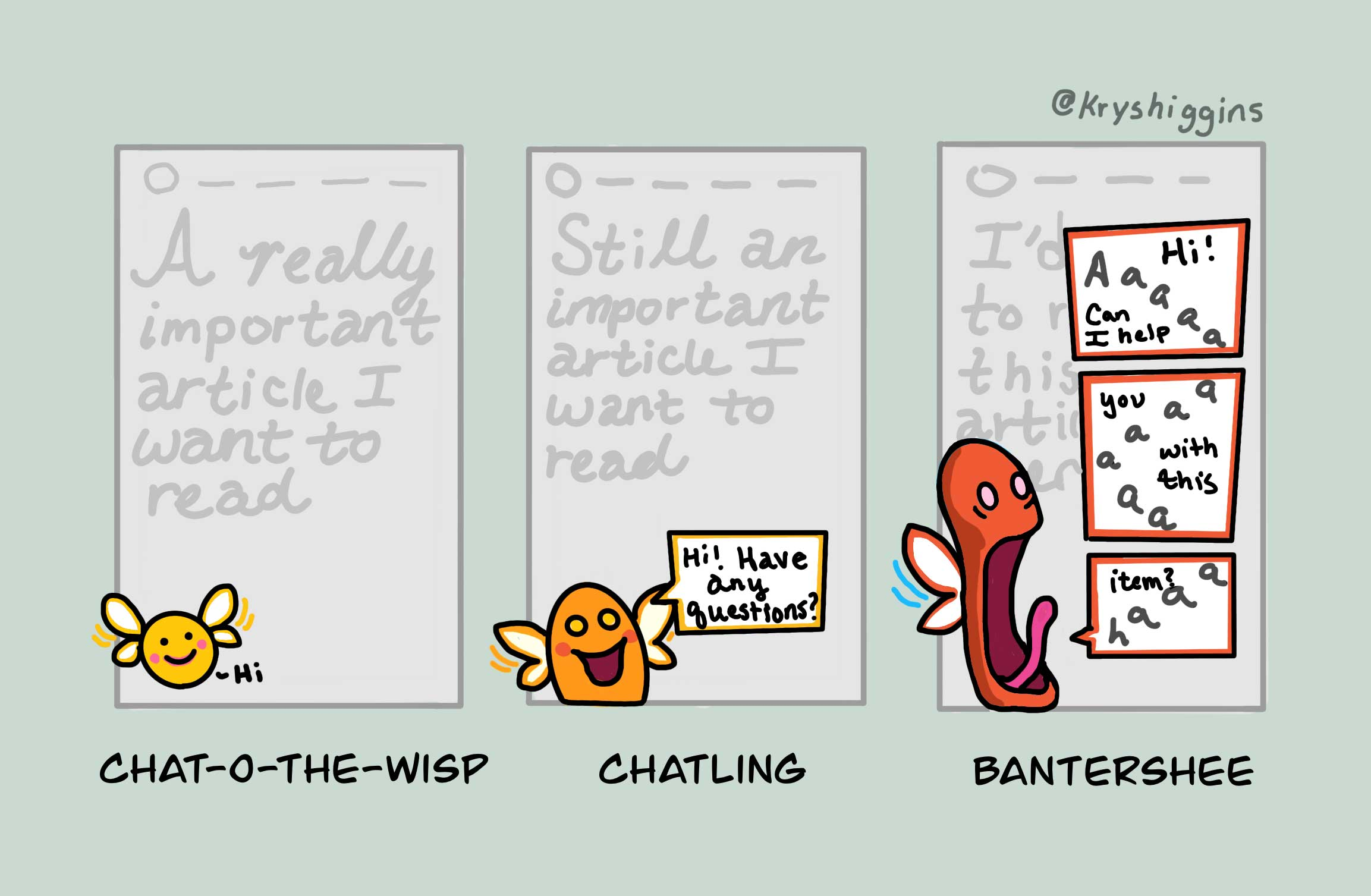 "Illustration of 3 mobile screens: the first (""Chat-o-the-wisp"") shows a tiny, friendly looking fairy-creature quietly hovering in the lower left; the second (""Chatling"") shows a larger fairy create now asking ""Hi, have any questions?""; and the third (""Bantershee"") shows a larger fairy creature spewing multiple speech bubbles that read, roughly, ""aaaaaaaaaahhhhh"""