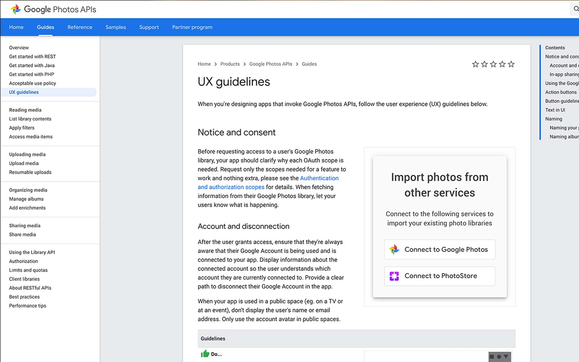 Screenshot from the public Google Photos Library APIs UX guidelines page