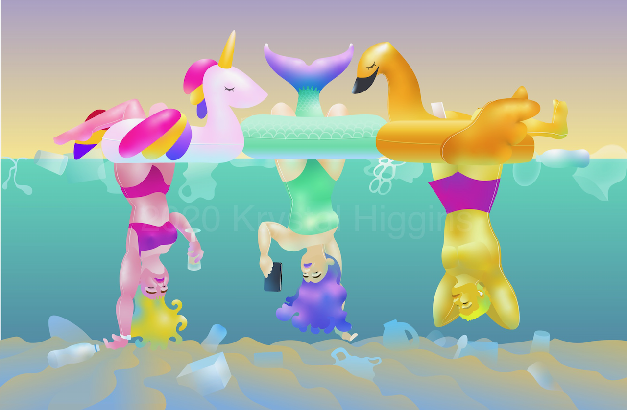 Illustration of people hanging underneath inflated unicorn, mermaid, and golden goose swim rings