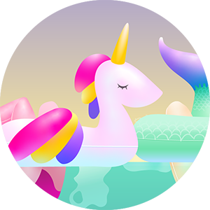 Thumbnail image of illustration showing inflated unicorn